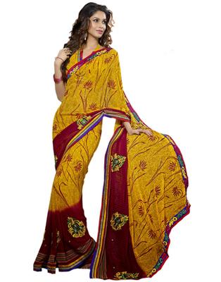 Designer Multicolor Color Chiffon Fabric Embroidered Saree