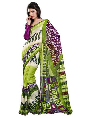 Designer Multicolor Color Chiffon Jacquard Fabric Printed Saree