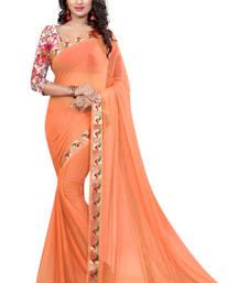 Buy orange plain nazneen saree With Blouse ethnic-saree online