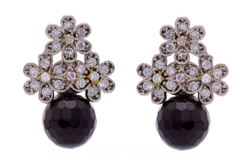ANTIQUE VICTORIAN STONES STUDDED TOPS WITH BLACK PEARLS DROP