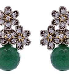 Buy ANTIQUE VICTORIAN STONES STUDDED TOPS WITH GREEN PEARLS DROP stud online