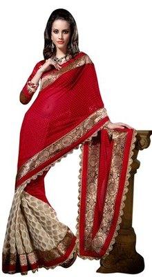 Triveni Beautiful Red Georgette, Viscose Embroidered Saree TSXSI5301
