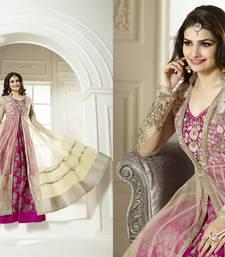 Buy Beige geogrette embroidered semi stitched salwar anarkali-salwar-kameez online