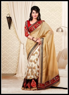 Exotic Deep Off White & Beige Embroidered Saree