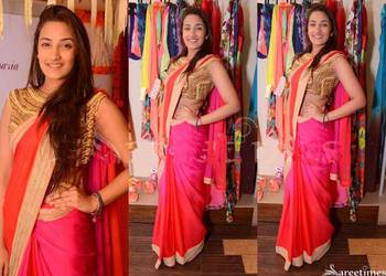Attractive georgette red & pink dual colour saree