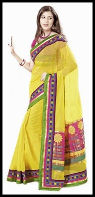 Tranquil Yellow Embroidered Saree