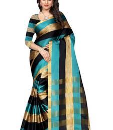 Buy aqua blue printed banarasi silk saree With Blouse banarasi-saree online