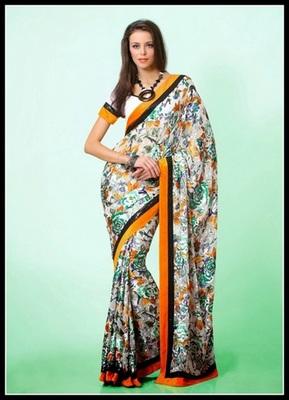 Elegant Deep Orange, Off White & White Embroidered Saree