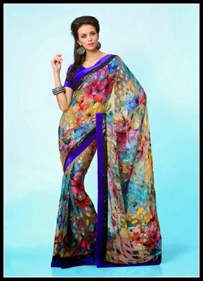 Butta Cyan Blue, Off White, Pink & Yellow Embroidered Saree