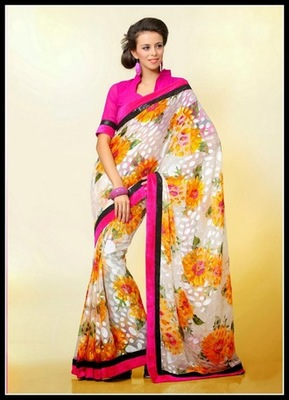 Enigmatic Gold Color & Off White Embroidered Saree