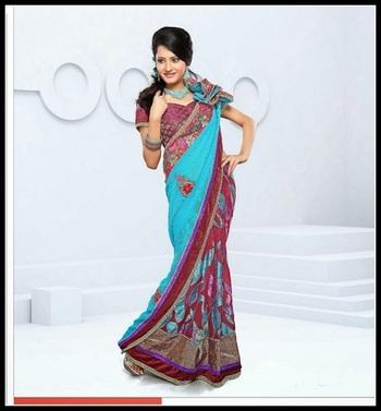 Magnificient Cyan Blue & Dark Red Wine Embroidered Saree