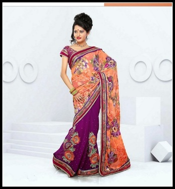 Ravishing Violet & Pale Tomato Embroidered Saree