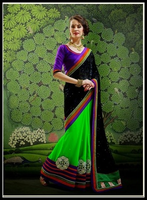 Captivating Black & Lime Green Embroidered Saree
