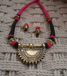 Buy pink black thread choker with earring gifts-for-her online
