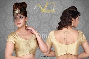 Elegant golden saree blouse - X-68g. Muhenera presents vamas designer collection