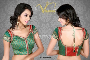 Beautiful gold green blouse with cap sleeves  - x 75g - green. Muhenera presents vamas designer collection