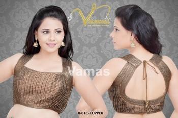 Sleeveless Brocade multilaced saree blouse x -81c copper Muhenera presents designer vama collection