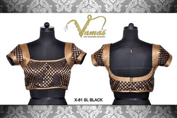 Brocade blouse with Shimmery Armhole. x-81slb.Black. Muhenera designer blouse collection