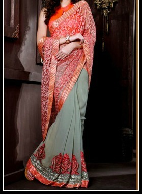 Divine Gray & Tomato Embroidered Saree