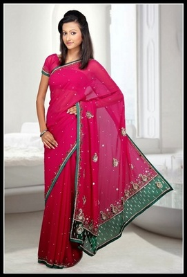 Aesthetic Fuchsia Embroidered Saree