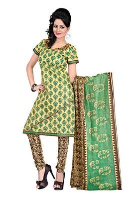 CottonBazaar Yellow  Colored Cotton Printed Un-Stitched Salwar Kameez