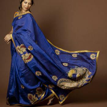 Royal Blue Kalamkari