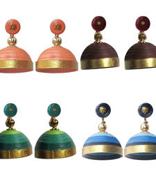 Buy Combo pack of four multicolor quilled jhumkas jhumka online