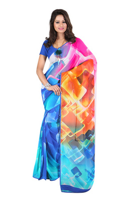 Fabdeal Blue & Pink Colored Georgette Saree