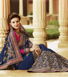 Buy navy blue embroidered georgette saree With Blouse bridal-saree online