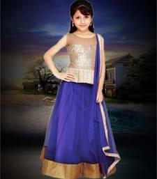 Buy Navy blue plain net kids lehenga choli kids-lehenga-choli online