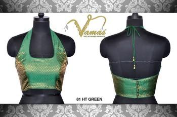 Halter Neck Printed Blouse Green. 81HTg. Muhenera presents vama collection