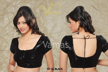 Shimmer embellished Saree blouse. Black 107sl Muhenera designer blouse collection