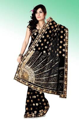 Black faux georgette saree with blouse (anc476)