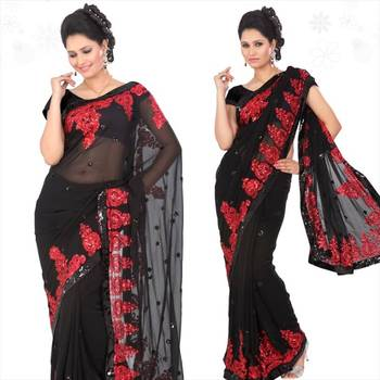 Black faux georgette saree with blouse (sn428)