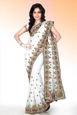 White faux georgette saree with blouse (anm483)