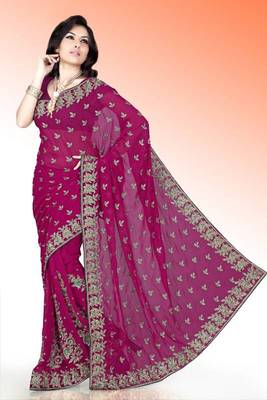Deep magenta faux georgette saree with blouse (anm504)