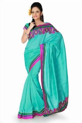 Turquoise bhagalpuri silk saree with blouse (and798)