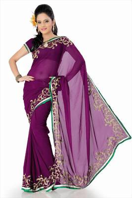 Wine faux georgette saree with blouse (and803)