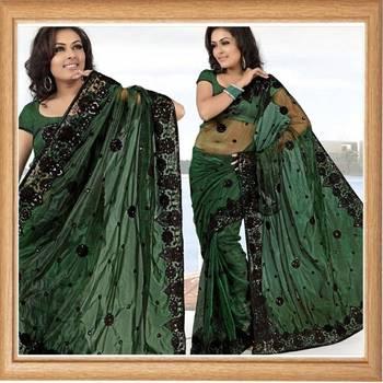 Deep green net saree with blouse (363)