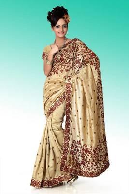 Beige bhagalpuri silk saree with blouse (anj579)