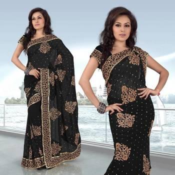 Black faux georgette saree with unstitched unstitched blouse (250)