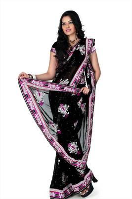 Black faux georgette saree with unstitched blouse (myr1222)