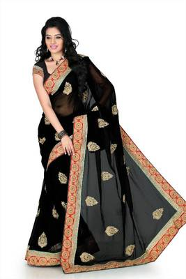Black chiffon saree with unstitched blouse (myr1238)