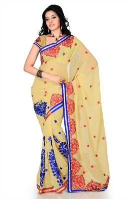 Beige faux georgette saree with unstitched blouse (cnc1166)