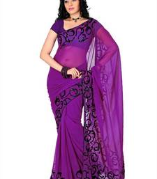 Buy Purple faux georgette saree with unstitched blouse (cnc1167) below-1500 online