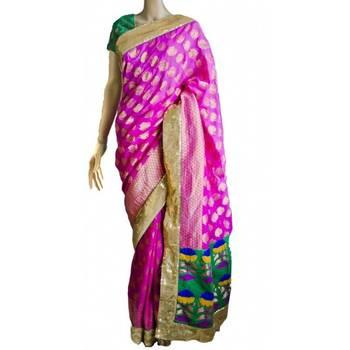 Shaded pink pure Banarasi georgette saree with green Paithani panel