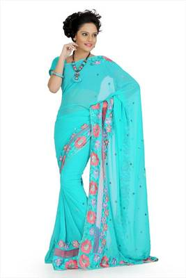 Medium turquoise faux georgette saree with unstitched blouse (akt750)