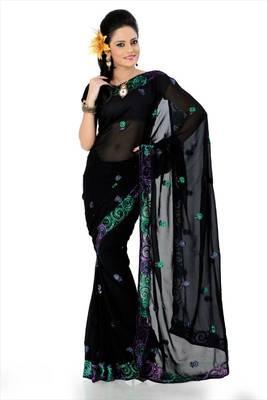 Black faux georgette saree with unstitched blouse (akt769)