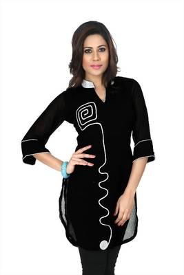 Black chiffon printed readymade kurti (k3)