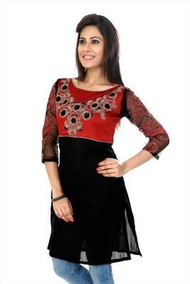 Red and black bhagalpuri silk readymade kurti (k33)